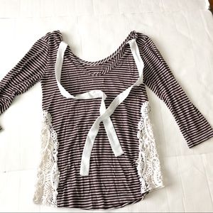 Tops - Striped shirt crochet inserts tie neck